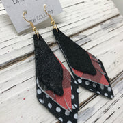 COLLEEN -  Leather Earrings  ||  SHIMMER BLACK, BLACK & RED BUFFALO PLAID, BLACK WITH WHITE POLKADOTS