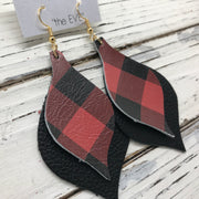 EVE - Leather Earrings  || RED & BLACK BUFFALO PLAID, MATTE BLACK