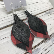 EVE - Leather Earrings  || SHIMMER  PEWTER ON BLACK, RED & BLACK BUFFALO PLAID