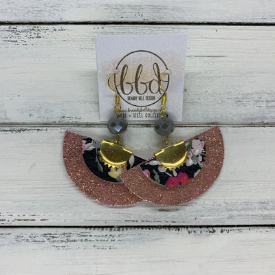 SUEDE + STEEL *Limited Edition* COLLECTION || GOLD BRASS HALF CIRCLE, <BR> BLACK WITH PINK FLORAL, <BR> FRINGED SHIMMER VINTAGE PINK