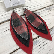 INDIA - Leather Earrings  ||   RED & BLACK BUFFALO PLAID, MATTE BLACK, MATTE CANDY APPLE RED
