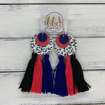 OOAK (One-of-a-Kind) Leather + Tassel Earrings || TOTAL TASSEL TAKEOVER <BR> COBALT BLUE PALM, MATTE CORAL/SALMON, BLACK & WHITE CHEETAH
