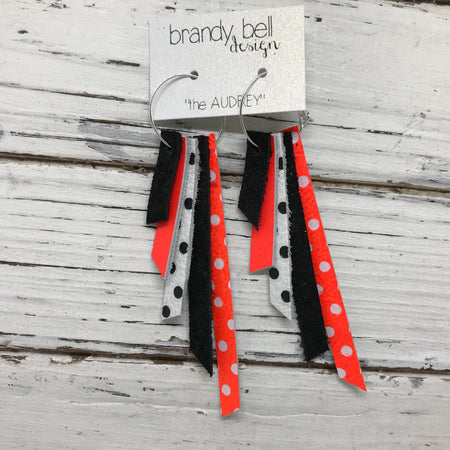 AUDREY - Leather Earrings  || SHIMMER BLACK, MATTE NEON ORANGE, WHITE WITH BLACK POLKADOTS, SHIMMER BLACK, NEON ORANGE WITH WHITE POLKADOTS
