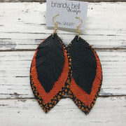 GINGER - Leather Earrings  || MATTE BLACK, METALLIC ORANGE PEBBLED, METALLIC ORANGE BISON