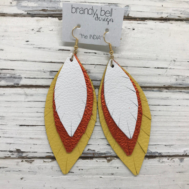 INDIA - Leather Earrings  ||  MATTE WHITE, METALLIC ORANGE PEBBLED, MATTE YELLOW