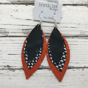 INDIA - Leather Earrings  ||  MATTE BLACK, BLACK & WHITE MERMAID, METALLIC ORANGE PEBBLED