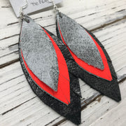 INDIA - Leather Earrings  || DISTRESSED SILVER & WHITE, MATTE NEON ORANGE, DISTRESSED SILVER & BLACK