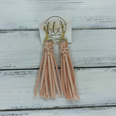 MARIE - Faux Suede Tassel Earrings  ||  PALE PEACH