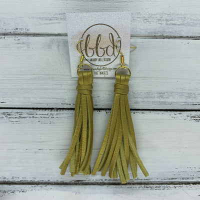 MARIE - Faux Suede Tassel Earrings  ||  METALLIC GOLD