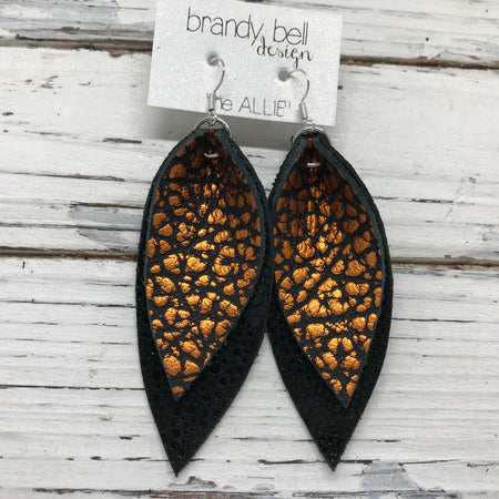 ALLIE -  Leather Earrings  || METALLIC ORANGE BISON, BLACK WITH GLOSSY DOTS