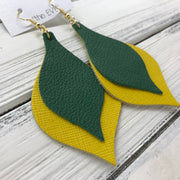 EVE - Leather Earrings  || <BR> MATTE EMERALD GREEN, <BR> YELLOW SAFFIANO