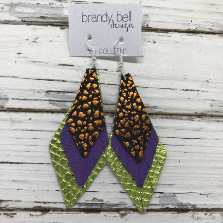 COLLEEN -  Leather Earrings  ||  METALLIC ORANGE BISON, MATTE PURPLE, METALLIC LIME COBRA