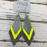 COLLEEN -  Leather Earrings  || DISTRESSED SILVER & WHITE, MATTE NEON YELLOW, METALLIC PEBBLED PEWTER