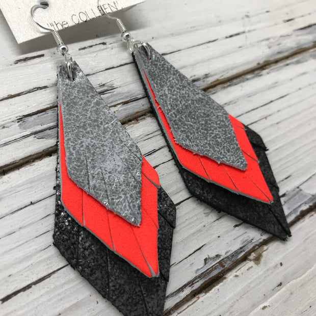 COLLEEN -  Leather Earrings  ||  DISTRESSED SILVER & WHITE, MATTE NEON ORANGE, DISTRESSED BLACK & SILVER