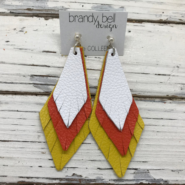 COLLEEN -  Leather Earrings  || MATTE WHITE, MATTE ORANGE, MATTE CANARY YELLOW