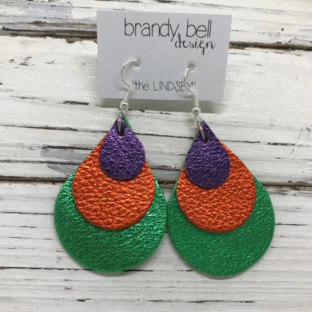 LINDSEY - Leather Earrings  ||   METALLIC PURPLE PEBBLED, METALLIC ORANGE PEBBLED, METALLIC BRIGHT GREEN