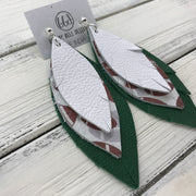 INDIA - Leather Earrings  ||   <BR> MATTE WHITE, <BR> FOOTBALL PATTERN, <BR> EMERALD GREEN