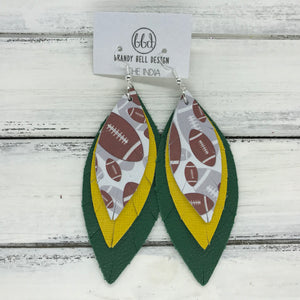 INDIA - Leather Earrings  ||   <BR> FOOTBALL PATTERN, <BR> SAFFIANO YELLOW, <BR> MATTE EMERALD GREEN