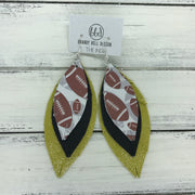 INDIA - Leather Earrings  ||   <BR> FOOTBALL PATTERN, <BR> SHIMMER BLACK, <BR> SHIMMER YELLOW
