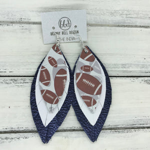 INDIA - Leather Earrings  ||   <BR> FOOTBALL PATTERN, <BR> MATTE WHITE, <BR> METALLIC NAVY PEBBLED