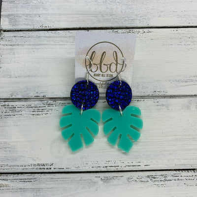 LIMITED EDITION PALM COLLECTION -  Leather Earrings  ||  <BR>  METALLIC COBALT CRACKLE, <BR> AQUA PALM LEAF