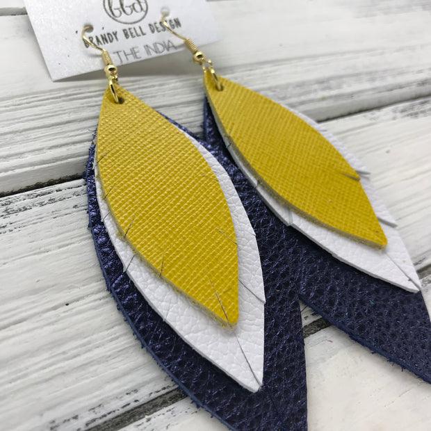 INDIA - Leather Earrings  ||   <BR> SAFFIANO YELLOW, <BR> MATTE WHITE, <BR> METALLIC NAVY PEBBLED