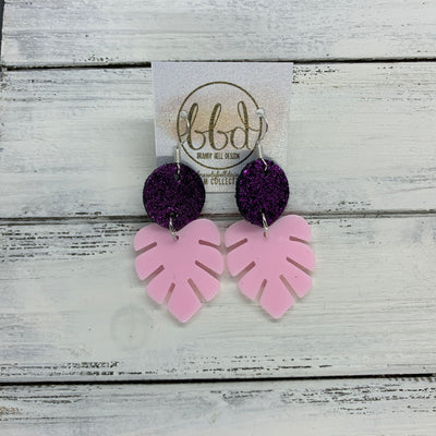 LIMITED EDITION PALM COLLECTION -  Leather Earrings  ||  <BR>  SHIMMER FUCHSIA, <BR> PINK PALM LEAF
