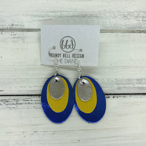 DIANE - Leather Earrings  ||    <BR> METALLIC SILVER, <BR> SAFFIANO YELLOW, ,BR> METALLIC COBALY BLUE