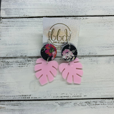 LIMITED EDITION PALM COLLECTION -  Leather Earrings  ||  <BR> FLORAL ON BLACK, <BR> PINK PALM LEAF