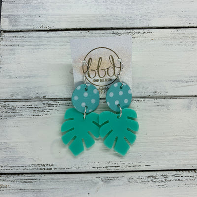 LIMITED EDITION PALM COLLECTION -  Leather Earrings  ||  <BR> AQUA & WHITE POLKADOT, <BR> AQUA PALM LEAF