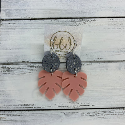 LIMITED EDITION PALM COLLECTION -  Leather Earrings  ||  <BR> GRAY STRINGRAY, <BR> CORAL PALM LEAF