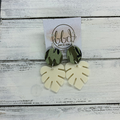 LIMITED EDITION PALM COLLECTION -  Leather Earrings  ||  <BR>  CAMOUFLAGE, <BR> IVORY PALM LEAF