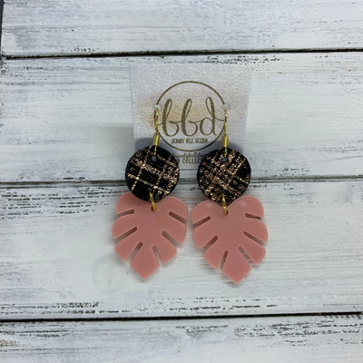 LIMITED EDITION PALM COLLECTION -  Leather Earrings  ||  <BR>  ROSE GOLD & BLACK PLAID, <BR> CORAL PALM LEAF