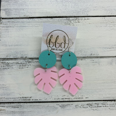 LIMITED EDITION PALM COLLECTION -  Leather Earrings  ||  <BR>  ROBINS EGG BLUE, <BR> PINK PALM LEAF