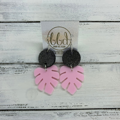 LIMITED EDITION PALM COLLECTION -  Leather Earrings  ||  <BR>  SHIMMER PEWTER, <BR> PINK PALM LEAF