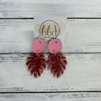 LIMITED EDITION PALM COLLECTION -  Leather Earrings  ||  <BR>  MATTE PINK, <BR> RED HOLOGRAM PALM LEAF