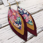 INDIA - Leather Earrings  ||   FLORAL ON BLUE, MATTE MUSTARD, METALLIC BURGUNDY
