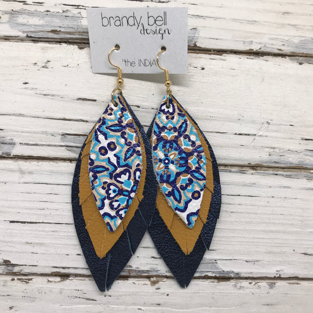 INDIA - Leather Earrings  ||   MOROCCAN TILE, MATTE MUSTARD, METALLIC NAVY PEBBLED