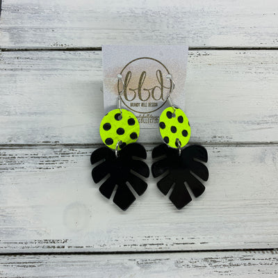 LIMITED EDITION PALM COLLECTION -  Leather Earrings  ||  <BR>  NEON YELLOW POLKADOTS, <BR> BLACK PALM LEAF