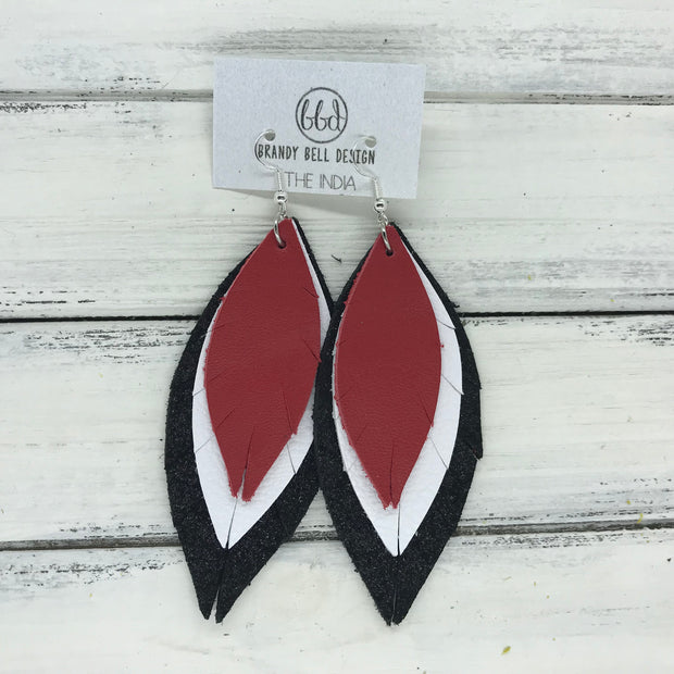INDIA - Leather Earrings  ||   <BR> MATTE RED, <BR> MATTE WHITE, <BR> SHIMMER BLACK