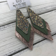 COLLEEN -  Leather Earrings  ||   GLAMOUR GLITTER (NOT REAL LEATHER), AVOCADO GREEN, SHIMMER VINTAGE PINK