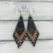 COLLEEN -  Leather Earrings  ||   ROSE GOLD NORTHERN LIGHTS, METALLIC COPPER, BLACK WITH METALLIC ROSE GOLD POLKADOTS