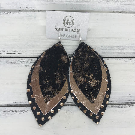 GINGER - Leather Earrings  ||  <BR>  ROSE GOLD NORTHERN LIGHTS <BR> METALLIC ROSE GOLD SMOOTH <BR> BLACK WITH METALLIC ROSE GOLD POLKADOTS