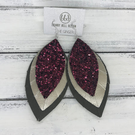 GINGER - Leather Earrings  ||  <BR>  BURGUNDY GLITTER (NOT REAL LEATHER) <BR> METALLIC CHAMPAGNE SMOOTH <BR> OLIVE GREEN