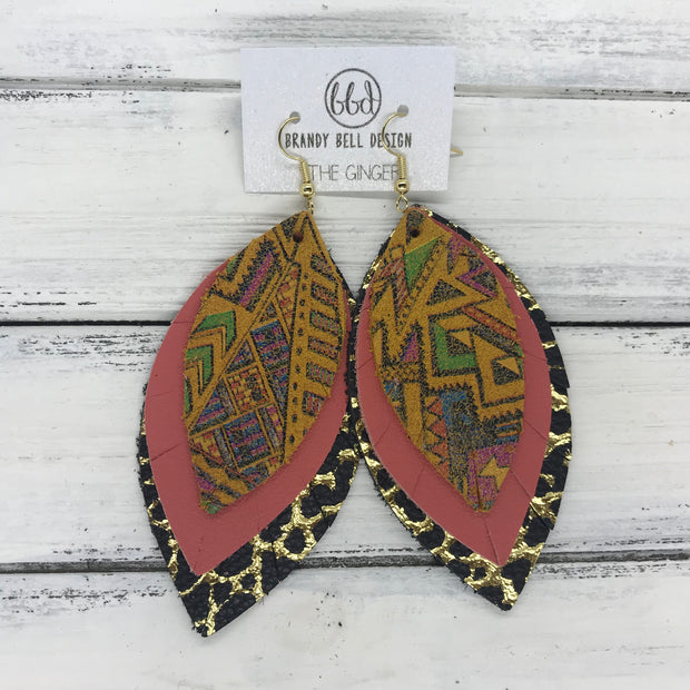 GINGER - Leather Earrings  ||  <BR>  NAVAJO PRINT <BR> MATTE  SALMON <BR> BLACK WITH GOLD ACCENTS