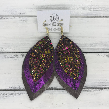 GINGER - Leather Earrings  ||  <BR> AUTUMN HARVEST GLITTER (NOT REAL LEATHER) <BR> SHIMMER FUCHSIA <BR> PEARLIZED BROWN