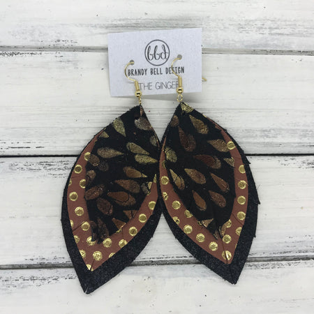 GINGER - Leather Earrings  ||  <BR> METALLIC LEAVES <BR> BROWN WITH METALLIC GOLD POLKADOTS <BR> SHIMMER BLACK