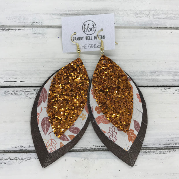 GINGER - Leather Earrings  ||  <BR>  ORANGE GLITTER (NOT REAL LEATHER) <BR> LEAVES ON WHITE <BR> PEARLIZED BROWN