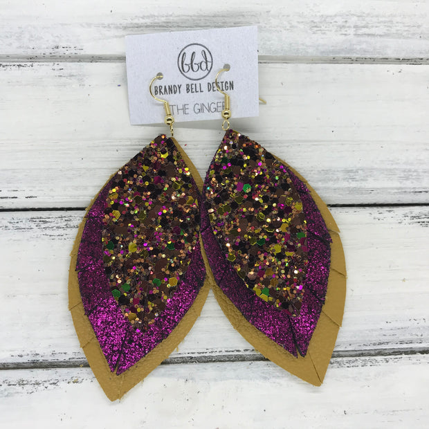 GINGER - Leather Earrings  ||  <BR>  AUTUMN HARVEST GLITTER (NOT REAL LEATHER) <BR> SHIMMER MAGENTA <BR> MATTE MUSTARD YELLOW