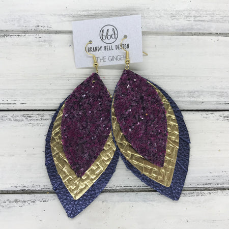 GINGER - Leather Earrings  ||  <BR>  MULBERRY GLITTER (NOT REAL LEATHER) <BR> METALLIC GOLD PANAMA WEAVE <BR> METALLIC NAVY PEBBLED
